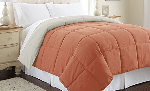 Amrapur Overseas 2DWNCMFG-OOT-QN Down alternative reversible comforter orange rust/oatmeal queen Full by Amrapur...