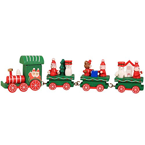 Train Set Santa - NEILDEN Upgraded Version Christmas Train Decor Gift Cute Wooden Mini Train Kids Gift Toys for Christmas Party Kindergarten Decoration (Green)