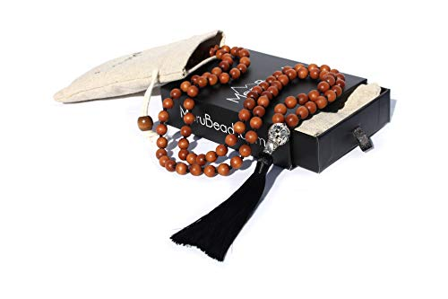 Premium Sandalwood Mala Beads Necklace - 108 Mala Beads 8mm - Japa Mala Beads - Strand Necklace for Women - Tibetan Mala Beads - Buddhist Mala - Sandalwood Necklace - Wooden Mala Beads for Men