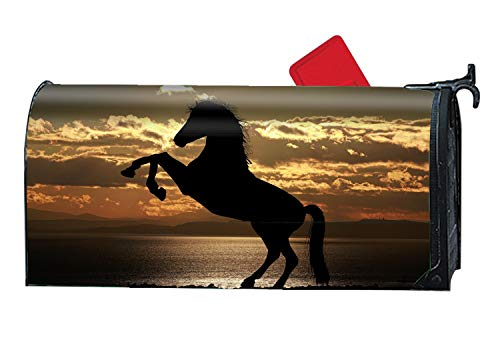 BYUII Silhouette Horse Sea Custom Magnetic Mailbox Cover Mail Wrap for Large Mailboxes Size 9