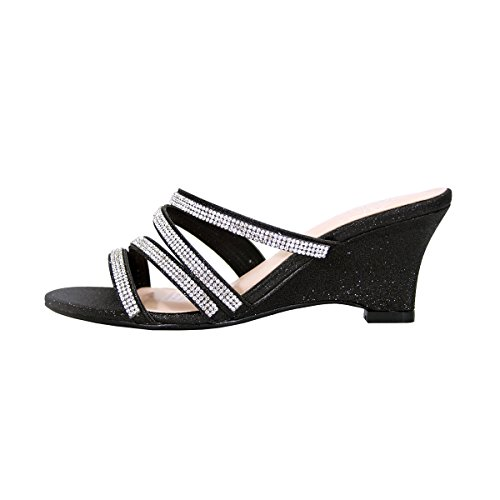 Floral Kelly Women Wide Width Rhinestone Strappy Slip On Wedge Heeled Party Sandals (Size/Measurement) Black hot sale cheap price 1ORiGyv