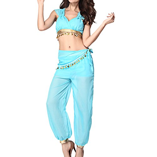 [Quesera Women's Princess Jasmine Costume Adult Aladdin Belly Dance Stage Costume, Blue, One Size Fits] (Jasmine And Aladdin Costumes)