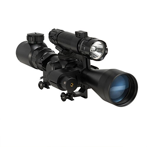 Pinty 3 in 1 Tactical 3-9X40 Red Green Mil-Dot Illumination Reticle Riflescope Scope Combo Sniper with Laser Sight and Torch for Hunting