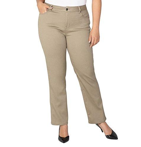 -AVENUE Women's Butter Denim Straight Leg Jean in Cafe, 16 Khaki