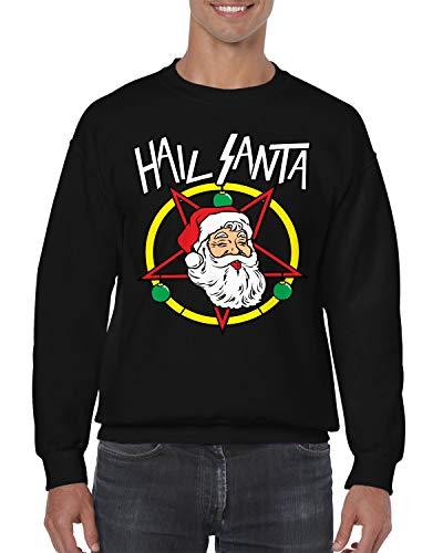 SpiritForged Apparel Hail Santa Metal Crewneck Sweater, Black Large -