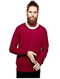 Scotch & Soda Men's Merino Wool Crew Neck Pullover Sweater, Red, XL