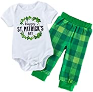 WINZIK St. Patrick's Day Outfit Newborn Baby Infant Boy Girl Shamrock Bodysuit Romper Plaid Pants Irish Pa