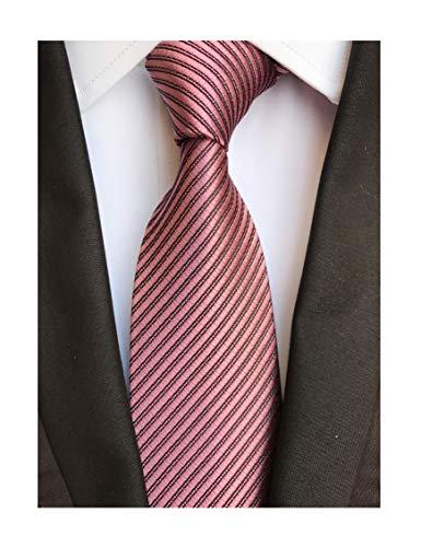 Men's Repp Dark Pink Norrow Fine Striped Silk Ties Daily Dress Meeting Neckties