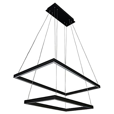 "VONN VMC31710BL Atria Duo 29"", Adjustable Suspension Fixture, Modern Two-Tier Chandelier Lighting in Black Integrated LED, 29.25"" L x 17.25"" W x 120"" (6"") H, - LED: integrated LED fixture Adjustable: cable locking pins allow the Suspension height to be easily changed post-install Dimmable: dimmable LED (15% - 100%) with elv - electric low Voltage dimmers - kitchen-dining-room-decor, kitchen-dining-room, chandeliers-lighting - 41qtJE9TBDL. SS400  -"