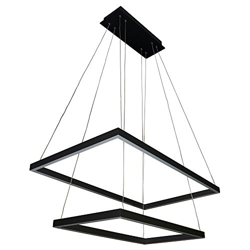 VONN VMC31710BL Atria Duo 29 , Adjustable Suspension Fixture, Modern Two-Tier Chandelier Lighting in Black Integrated LED 29.25 L x 17.25 W x 120 6 H