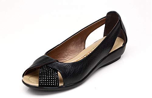 Otoño Verano Código Femenino 40 43 Grande Nuevo Sandalias Pez AIMENGA Plano Plano Zapatos Tacón black Planos Fondo De Boca 6nan7HIOq