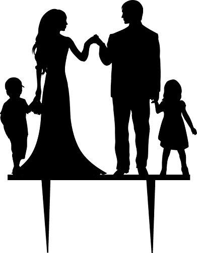 Personalized wedding cake topper silhouette groom and bride with two personalized wedding cake topper silhouette groom and bride with two kids acrylic anniversary cake topper junglespirit Gallery