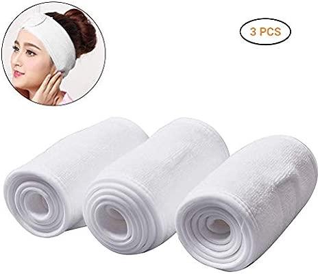 Comtervi - Diadema de maquillaje, diadema ajustable, banda blanca, para limpieza facial y deporte, yoga, 3 unidades