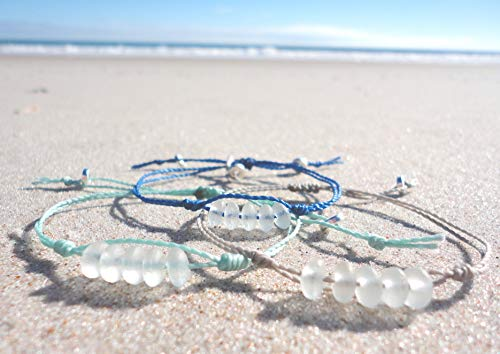 Sea Glass Bead Anklet-Adjustable Waterproof Wax Coated Anklet-Choose Your Thread-Handcrafted Beach Anklet with White Sea Glass Beads ()
