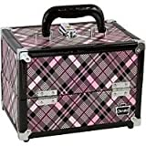 Caboodles Rock Star Make-Up Storage Train Case Pink and Black Plaid, Bags Central
