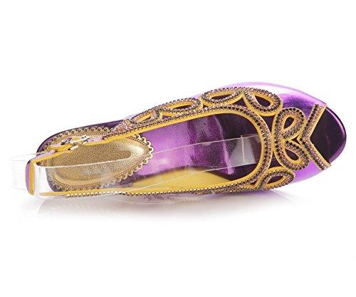 Schuhe Diamant Hacke Gurt Party Größe Abschlussball Sandalen Damen ZPL Knöchel Kleid Damen Keil Hochzeit T67aRWWq