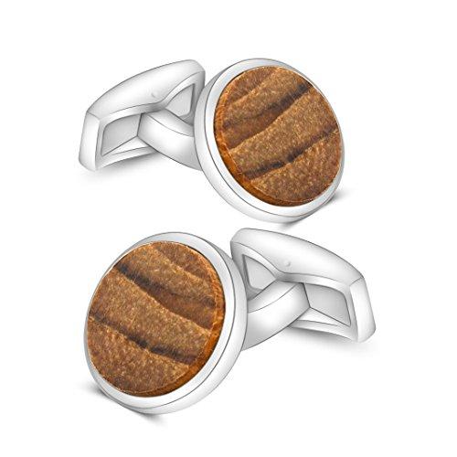 Mr.Van Natural Walnut Wood Cufflinks Round Handcrafted Wooden Wedding Cuff Links Gifts for Men ()
