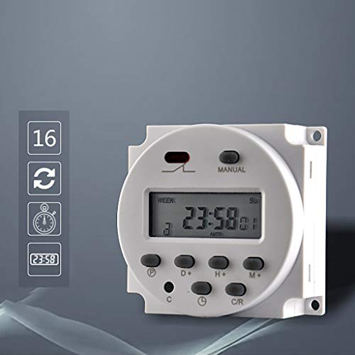 Yu2d  LCD Relay Switch Weekly Programmable Electronic Time Timer 12V(White A) -