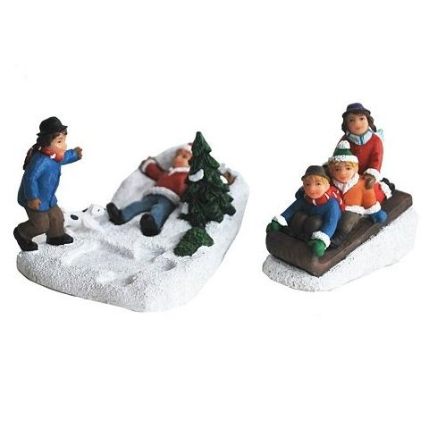 St Nicholas Square Christmas Village Collection Making Snow Angels & Sledding Set