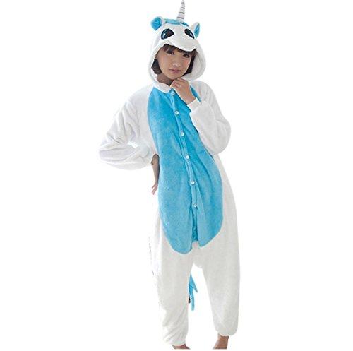 Pajama Cosplay Sleepwear Animal Warm Easy for Bathroom Adult Unisex Homewear (L, Blue (Rockstar Custome)