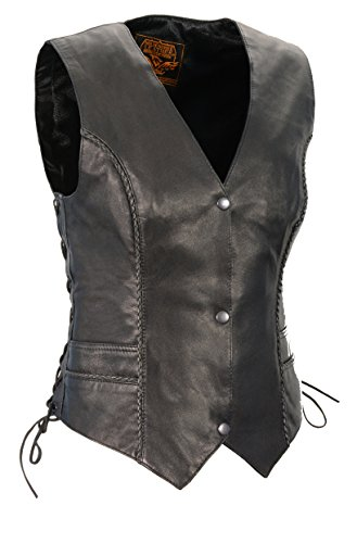 (Milwaukee Leather Women's Braided Vest (S Front Snaps, Braided O) (Black, X-Large))