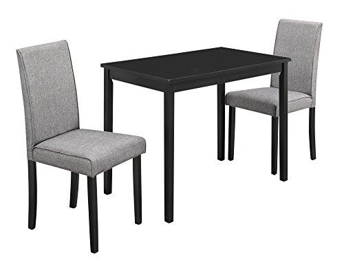 - Monarch Specialties I 1016, Dining Set Set, Parson Chairs, Black/Grey, 3pcs