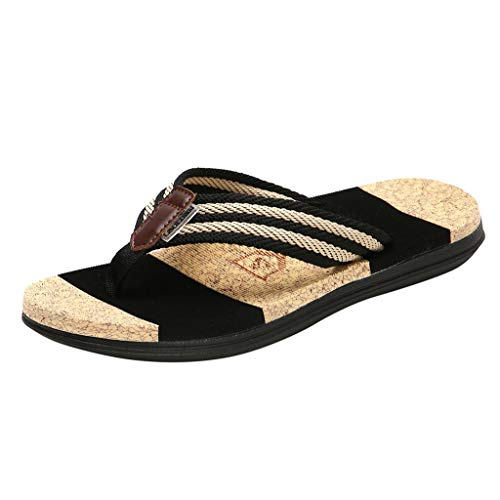 HTHJSCO Men Women Casual Flip Flop Sandals, Couples Casual Striped Flip Flop Slippers Beach Outdoor Shoes (9.5, Black) from HTHJSCO