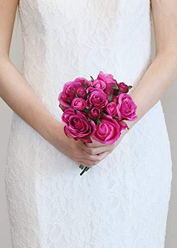 - Floral Home Rose Nosegay Silk Wedding Bouquet in Dark Pink - 12