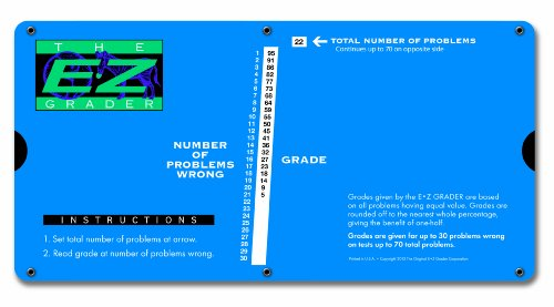 "E-Z Grader 7200 Large Print E-Z Grader, Educational Grading Chart, Computes Percentage Scores Up to 70 Questions, 10"" x 5"", Royal Blue"