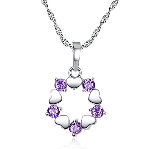 MUZHE Charm Hearts and Arrows Necklace,Austrian Crystal Love Wreath Ring Pendant Necklace for Women Girls Wedding Gifts (Purple)