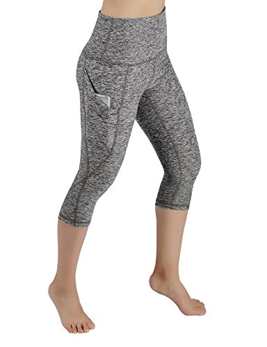 ODODOS High Waist Out Pocket Yoga Capris Pants Tummy Control Workout Running 4 Way Stretch Yoga Capris Leggings,GrayHearher,Large