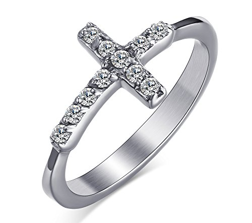 Womens Girls Stainless Steel CZ Cubic Zirconia Cross Ring for Christian Jesus Lord Prayer,Size 9 (The Who Boy Loved Christmas)