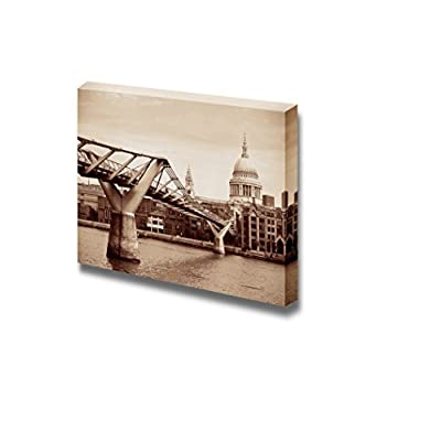 St Pauls Cathedral and Millennium Bridge in London Vintage Retro Style - Canvas Art Wall Art - 24