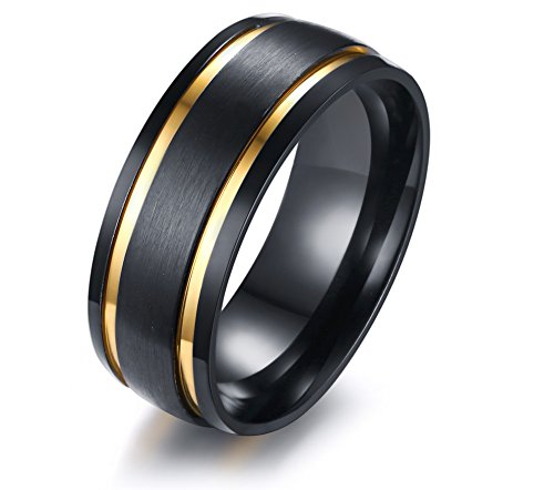 XUANPAI 8mm Men's Wedding Band Stainless Steel Brushed Matte Double Groove Gold Inlay Domed Ring,Size 9