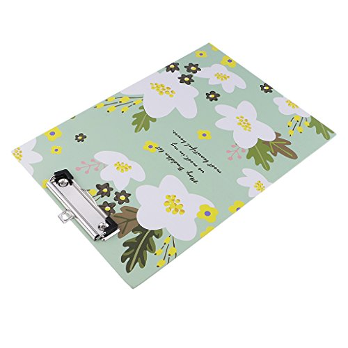 Homyl Beautiful Flower Pattern A4 Size Metal Card Board Drawing Clipboard Folder Stationary Board Painting Writing Plate Clip Home School Office Supply - (Board Flowers Painting)