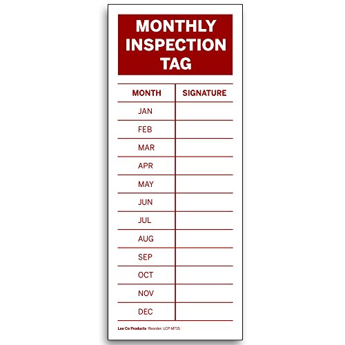 Monthly Inspection Tag, 5 x 2 in. High Visibility Red on White Vinyl Sticker Label (100)