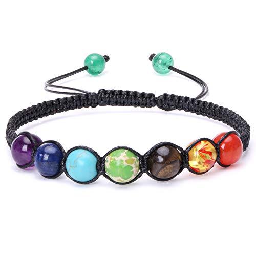 Aobei Pearl 7 Chakra Diffuser Healing Bracelet Essential Oil Volcanic Lava Braided Rope Gemstone Yoga Beads Bangle (Lapis Bracelet Turquoise)