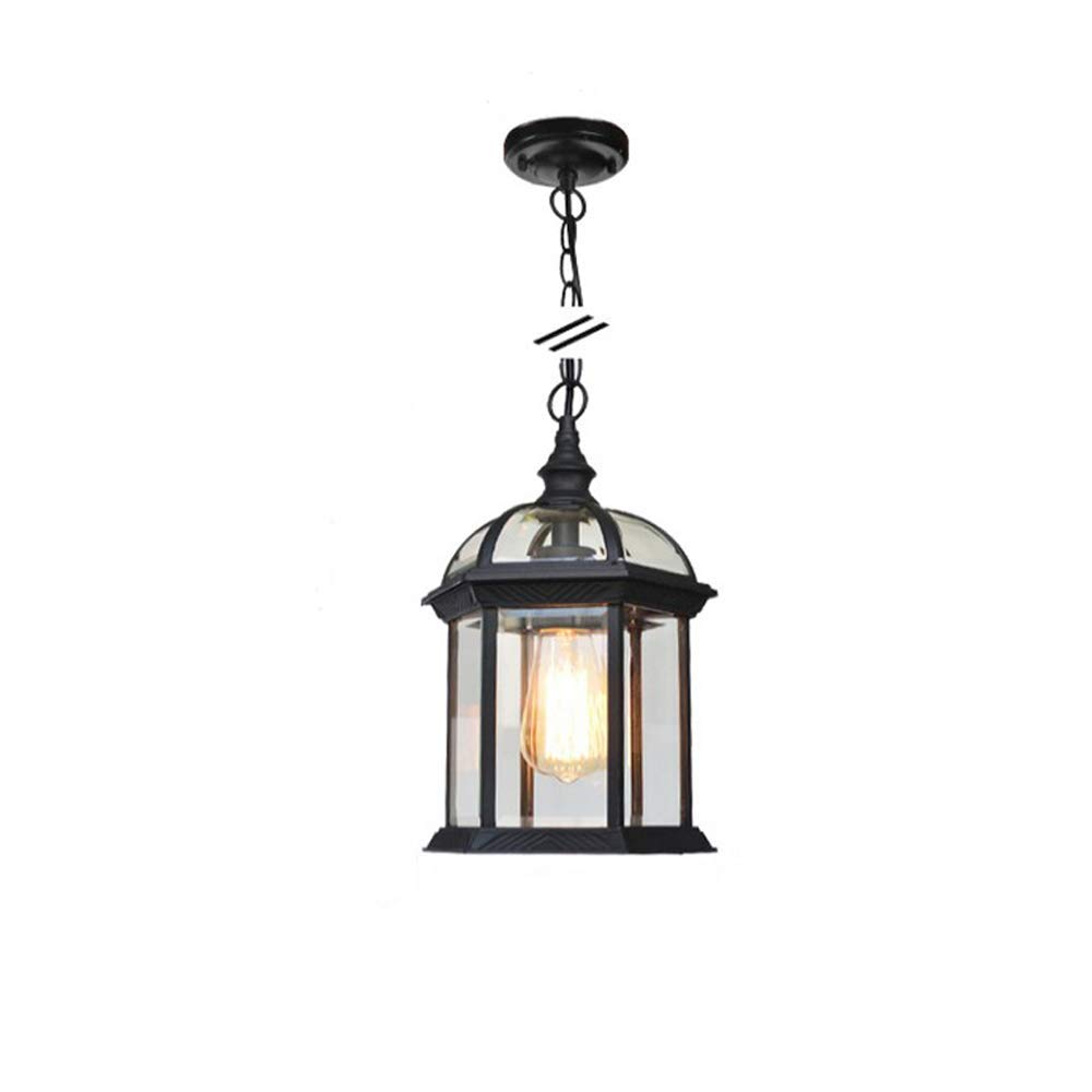 suspension classique vintage ● Lampe de cour ext/érieure de lustre de jardin Grape ext/érieur suspension E27 de plafond /étanche Cage /à oiseaux suspension am/éricaine Couleur: Black-S-Chandelier r/étro