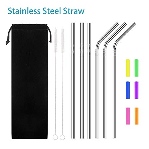Stainless Steel Straw,Metal Straw,Extra Long Smoothie Reusable Metal Drinking Straws for Party,Mugs,Shakes,Tumblers,Cold Beverage,3 Straight Straw,3 Bent Straw,2 Cleaning Brushes,6 Silicone Tips by choolo