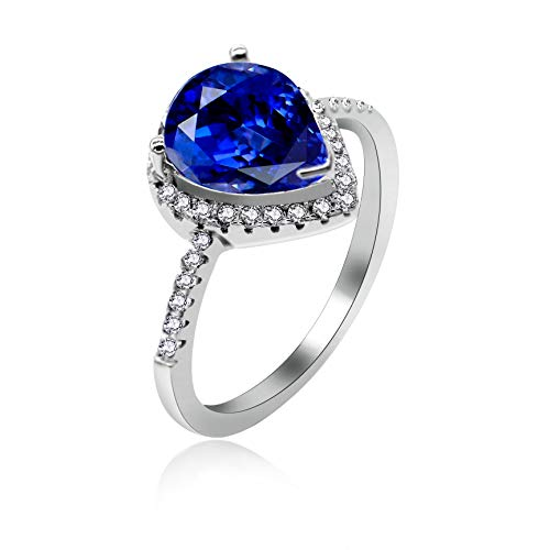 - Uloveido Unique Sterling Silver Solitaire Rings, Pear Shape Navy Blue Cubic Zirocnia Halo Rings, Fashion Women Wedding Engagement Jewelry (Blue, Size 7) JZ116