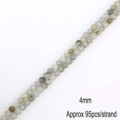 Grade A Aura Rainbow Moonstone Bead Gem Stone White Moon Stone Round Loose Beads for Jewelry 4/6/8/10/12mm 15.5inch Full Strand - (4mm)
