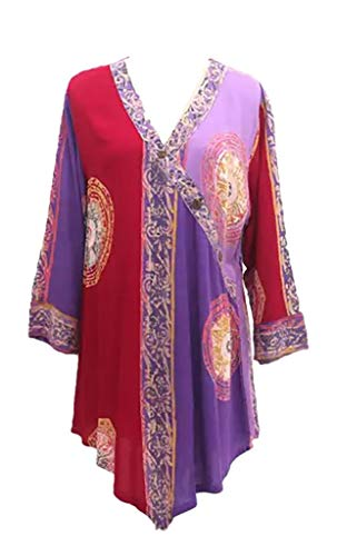 Shaybali Batik Asymmetrical Tunic Top (Purple Majesty Ancient Batik), Size Small, Hand-Printed in Bali