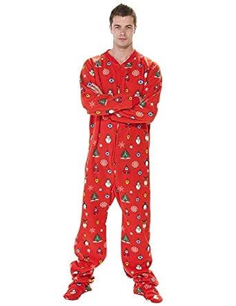 Amazon.com: Footed Pajamas - Holly Jolly Christmas Adult Fleece ...