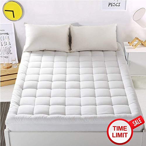 "WARM HARBOR Mattress Pad Cover King Size Mattress Topper with 18"" Deep Pocket Pillowtop Overfilled 100% 300TC Cotton White Bed Topper (Down ()"