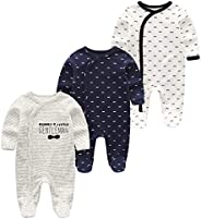 Kiddiezoom Baby and Toddler Boys' 3-Pack Snug Fit Footed Cotton Paj