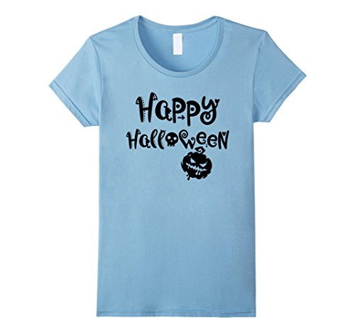 Scary Smiley Face (Womens Happy Halloween - Smiley Face Scary Pumpkin - Easy Costume Large Baby Blue)
