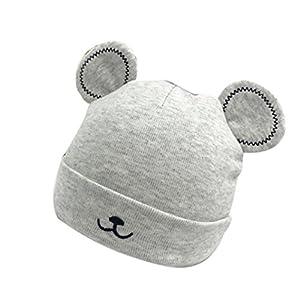 Nouveau-né Bébé Bonnet, 0-1 Ans Nourrisson Chapeau [Panda ] Chaud Bonnet d'hiver Chapeau (Gris) 5