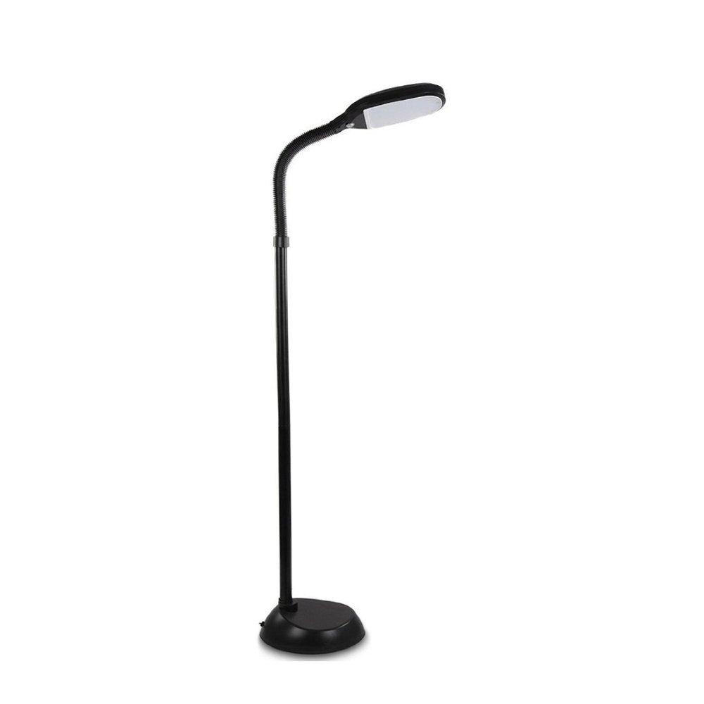 Natural Daylight Lamp, Floor Standing Reading Task Light, 12-watt Full Spectrum Bright Sunlight Torchiere, Fully Adjustable Neck, Black