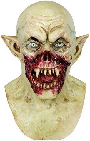 Creepy Scary Bleeding Zombie Helmet Horror Halloween Monster Cosplay Costume Mask Party Decoration Props Latex Elf Demon Hood