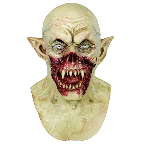 Creepy Scary Bleeding Zombie Helmet Horror Halloween Monster Cosplay Costume Mask Party Decoration Props Latex Elf Demon Hood ()